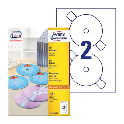 Etikett AVERY L7676 CD 200 címke/doboz 100 ív/doboz