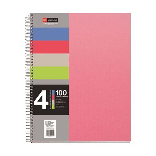 Spirálfüzet MIQUELRIUS 4 Notebook A/4 100 lapos perforált lyukasztott kockás