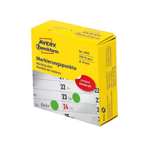 Etikett AVERY 3855 öntapadó jelölőpont adagoló dobozban zöld 19mm 250 jelölőpont/doboz