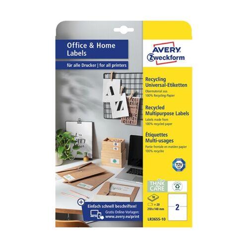 Etikett AVERY LR3655-10 210x148mm univerzális  környezetbarát  20 címke/doboz 10 ív/doboz