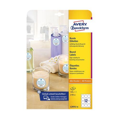 Etikett AVERY L3416-10 kör alakú 60 mm átmérő 120 címke/doboz 10 ív/doboz