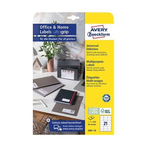 Etikett AVERY 3481-10 70x41mm univerzális 240 címke/doboz 10 ív/doboz