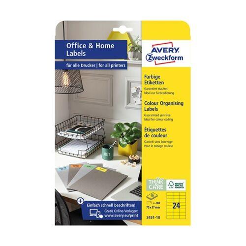 Etikett AVERY 3451-10 70x37mm univerzális sárga 240 címke/doboz 10 ív/doboz