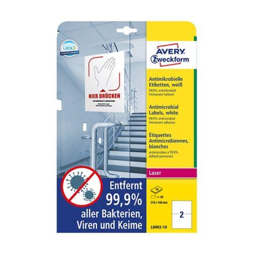 Etikett AVERY L8002-10 210x148mm antimikrobiális fehér 20 címke/doboz 10 ív/doboz