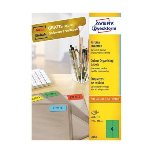 Etikett AVERY 3458 105x148 mm zöld univerzális 400 címke/doboz 100 ív/doboz
