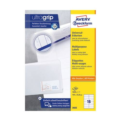 Etikett AVERY 3665 105x33,8 mm fehér univerzális 1600 címke/doboz 100 ív/doboz