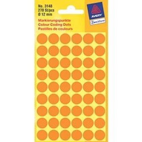 Etikett AVERY 3148 jelölőpont 12 mm neon narancssárga 270 címke/doboz 5 ív/doboz