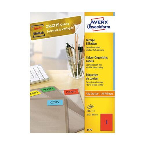 Etikett AVERY 3470 210x297 mm piros univerzális 100 címke/doboz 100 ív/doboz