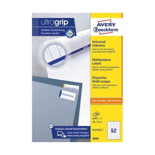 Etikett AVERY 3650 48x21 mm fehér univerzális 5200 címke/doboz 100 ív/doboz