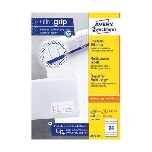 Etikett AVERY 3475-200 70x36 mm univerzális fehér 5280 címke/doboz 200+20 ív/doboz