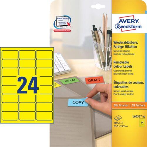 Etikett AVERY L6035-20 63,5x33,9mm univerzális sárga 480 címke/doboz 20 ív/doboz