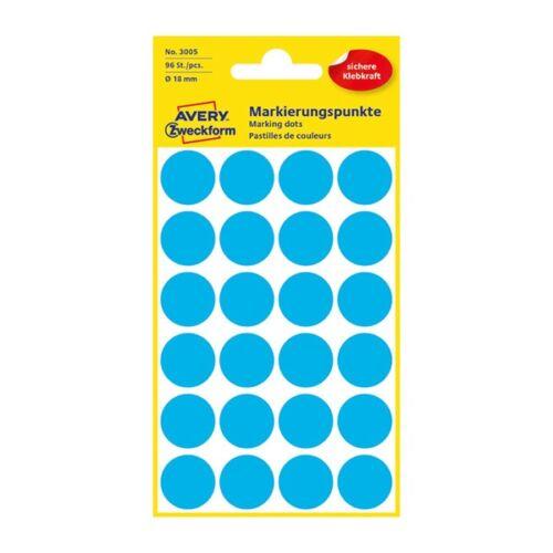 Etikett AVERY 3005 elölőpont 18mm kék 96 db/csomag