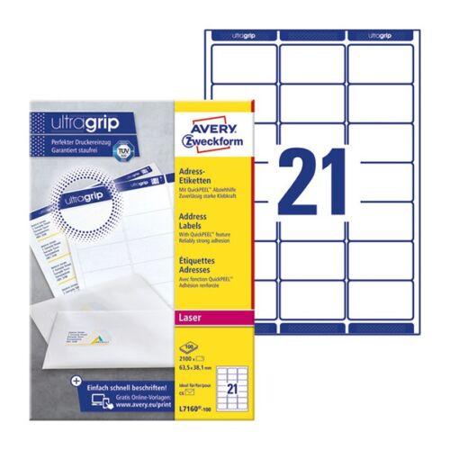 Etikett AVERY L7160-100 63,5x38,1mm univerzális 2100 címke/doboz 100 ív/doboz