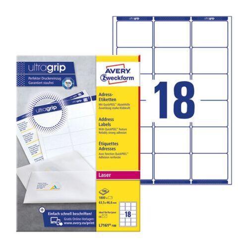 Etikett AVERY L7161-100 63,5x46,6mm fehér 1800 címke/doboz 100 ív/ doboz