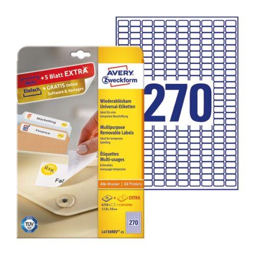 Etikett AVERY L4730REV-25 17,8x10mm visszaszedhető 6750 címke/doboz 25 ív/doboz