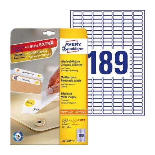 Etikett AVERY L4731REV-25 25,4x10mm visszaszedhető 4725 címke/doboz 25 ív/doboz