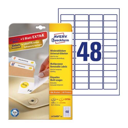 Etikett AVERY L4736REV-25 45,7x21,2mm visszaszedhető 1200 címke/doboz 25 ív/doboz