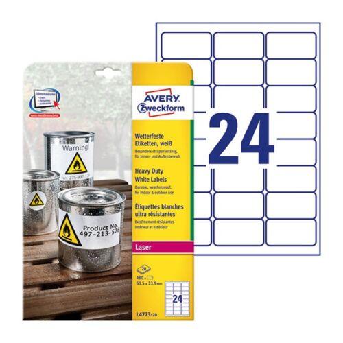 Etikett AVERY L4773-20 63,5x33,9mm időjárásálló fehér poliészter 480 címke/doboz 20 ív/doboz
