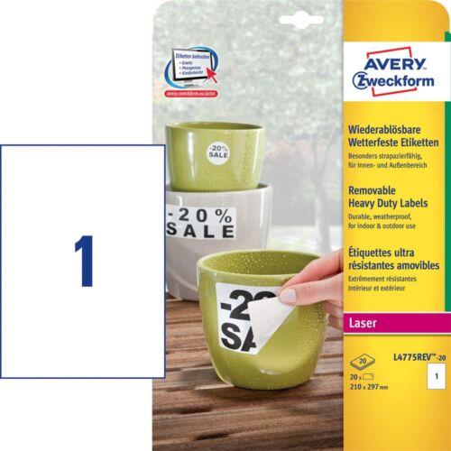 Etikett AVERY L4775REV-20 210x297mm időjárásálló fehér poliészter visszaszedhető lézer 20 címke/doboz 20 ív/doboz