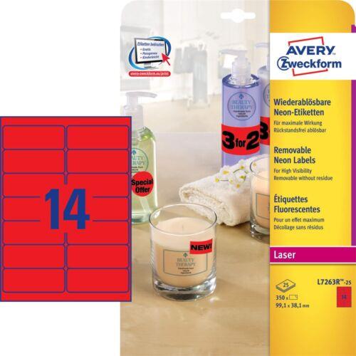 Etikett AVERY L7263R-25 99,1x38,1mm laser neon piros 350 címke/doboz 25 ív/doboz