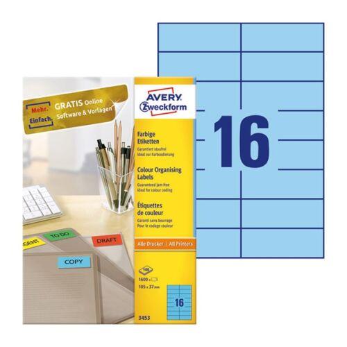 Etikett AVERY 3453 105x37mm univerzális kék 1600 címke/doboz 100 ív/doboz