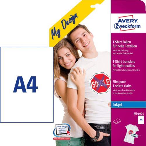 Etikett AVERY MD1001 világos pólóra vasalható 5 ív/csomag
