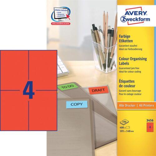 Etikett AVERY 3456 105x148mm univerzális piros 400 címke/doboz 100 ív/doboz