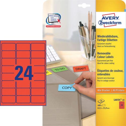 Etikett AVERY L6034-20 63,5x33,9mm univerzális piros 480 címke/doboz 20 ív/doboz
