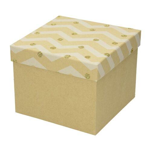 Ajándékdoboz karácsonyi Kraft M 16x16x13 arany
