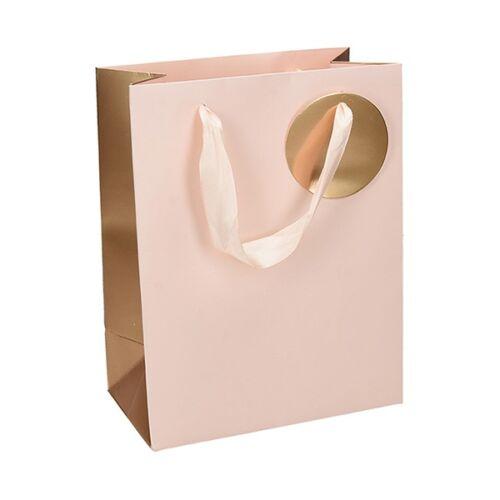 Ajándéktasak Deluxe  L 26x32x12 pasztell rózsaszín arany