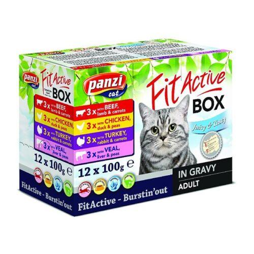 Állateledel alutasakos PANZI FitActive FitaBox macskáknak 12*100 g