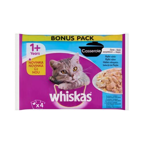 Állateledel alutasakos WHISKAS Casserole macskáknak 4-pack halas válogatás aszpikban 4x85g
