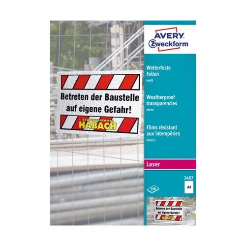 Etikett AVERY 3487 210x297 mm fehér időjárásálló 100 címke/doboz 100 ív/doboz