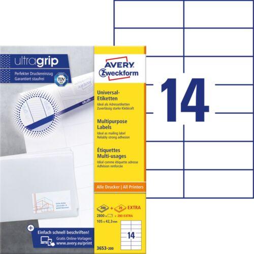 Etikett AVERY 3653-200 105x42,3mm fehér 3080 címke/doboz 200+20 ív/doboz