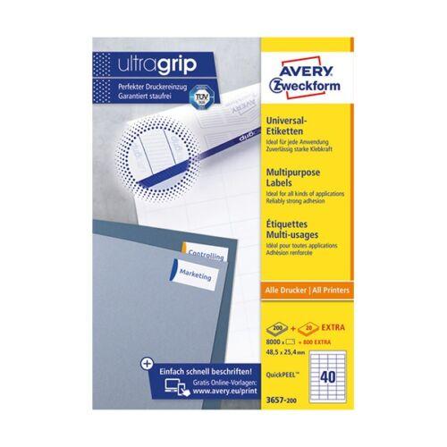 Etikett AVERY 3657-200 48,5x25,4 mm fehér univerzális 8800 címke/doboz 200+20 ív/doboz